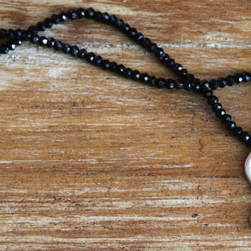 Seahorse necklace with black spinel