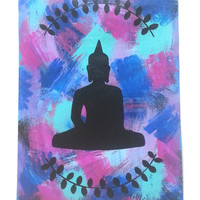 Bohemian zen buddha 12 x 9 painting print for baby nursery, girls room, dorm room, or home decor