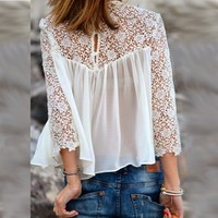 White Sheer Lace Top