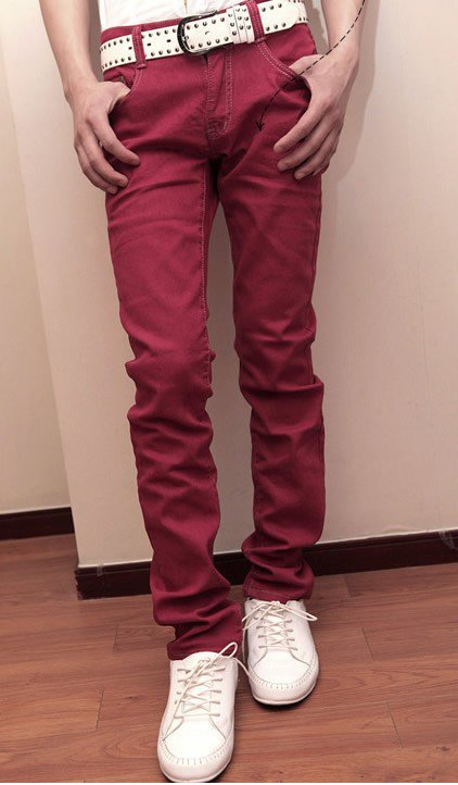 Men Simple Red Caltivation Skinny Jean/Pants S/M/L/XL/XXL@X1813NH5S5K075