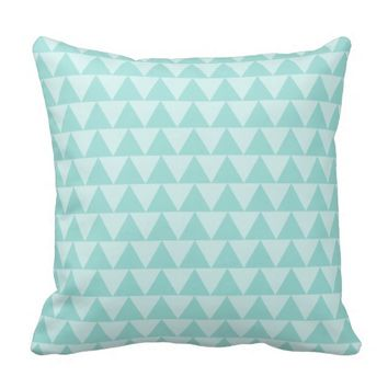 Trendy Mint Green Tribal Triangle Throw Pillow