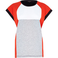 River Island Womens Red color block t-shirt
