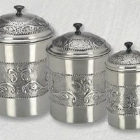 "Antiqued Embossed Pewter Canisters - Set of 3 - Kitchen Jars - StacksAndStacks.com, 5.5 quart jar, a 4 quart jar and 3 quart jar, 18""H x 12""W x 19""D"