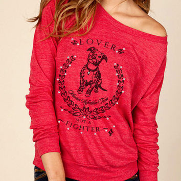 Pit Bull Lover Eco Slouchy Long Sleeve Womens Pullover Shirt
