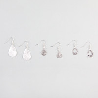 FULL TILT 3 Pairs Diamond Dust/Filigree Drop Earrings 241955140 | Earrings