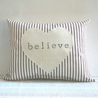 Believe Christmas Pillow Red Ticking Stripe