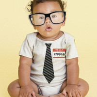 The New Guy - Tie Baby Onesuit, Personalized Infant Geek, Custom Boy Tie Bodysuit