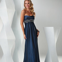 SALE! FLIRT by Maggie Sottero Prom Dresses-Midnight Blue Satin Empire Gown With Pockets - Unique Vintage - Bridesmaid & Wedding Dresses