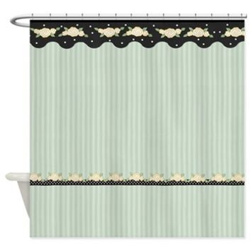 Floral Stripe Roses - Green Shower Curtain> Shower Curtains> SpiceTree Gift Shop