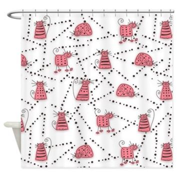 Fun Cat Toons Pink Shower Curtain> Shower Curtains> SpiceTree Gift Shop