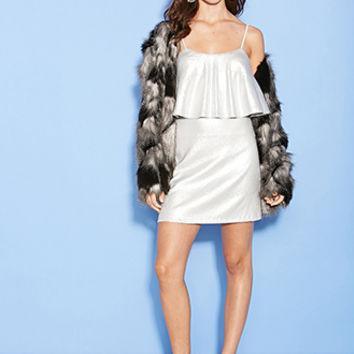 FOREVER 21 Tiered Sequin Cami Dress Silver