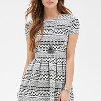 FOREVER 21 Geo Striped Skater Dress Black/Cream