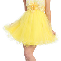 Yellow & White Sassy Sequin & Tulle Prom Dress - Unique Vintage - Bridesmaid & Wedding Dresses