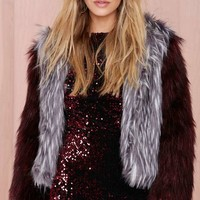 Glamorous Double Trouble Faux Fur Jacket - Heather Gray