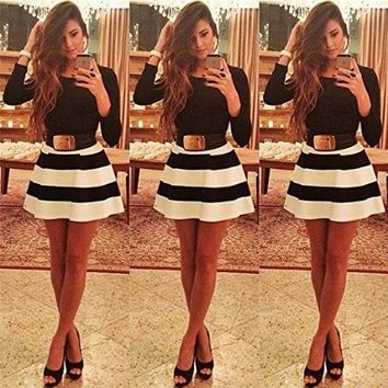 Moxeay® Long Sleeve Black White Stripes Swing Skater Dress Party Prom Bodycon Dress (S)