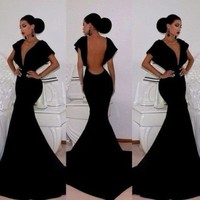 Leshery New Sexy Women Sleeveless Prom Ball Cocktail Party Dress Formal Evening Gown (L)