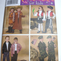 New Simplicity Pattern Halloween Costume childrens sizes 3 4 5 6 7 8 boys  girls pirates fifties cowboy cowgirl army