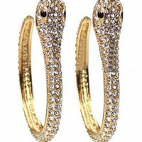Gold Double Snake Style Rhinestone Embellished Ring - Sheinside.com
