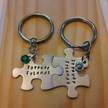 Hand Stamped Keychains Personalized Jewelry Forever Friends Puzzle Piece Keychain with Birthstones