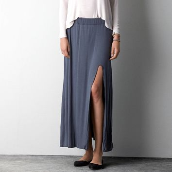 Don't Ask Why Side Slit Maxi , Gunmetal   American Eagle Outfitters