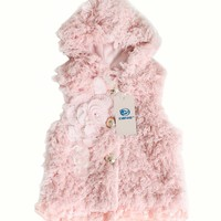 Fall Winter Girls Warm Faux Fur Hooded Vest 3d Floral Jacket Coat Size0~4y