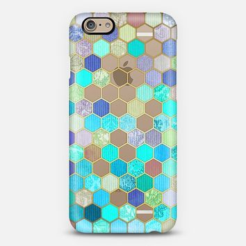 Turquoise & Purple Honeycomb Pattern - transparent iPhone 6 case by Micklyn Le Feuvre | Casetify