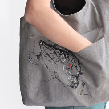 Reversible Gray HoboTote Bag Hand Painted Dragonfly