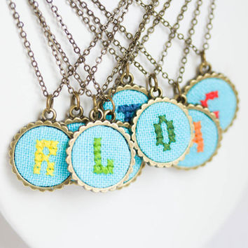 Personalized necklace - Initial jewelry - Initial on bright blue fabric - Monogram necklace - Bridesmaids jewelry - i013