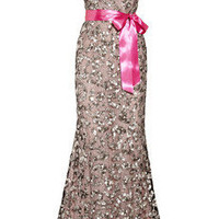 Oscar de la Renta|Sequined tulle and silk-chiffon gown|NET-A-PORTER.COM