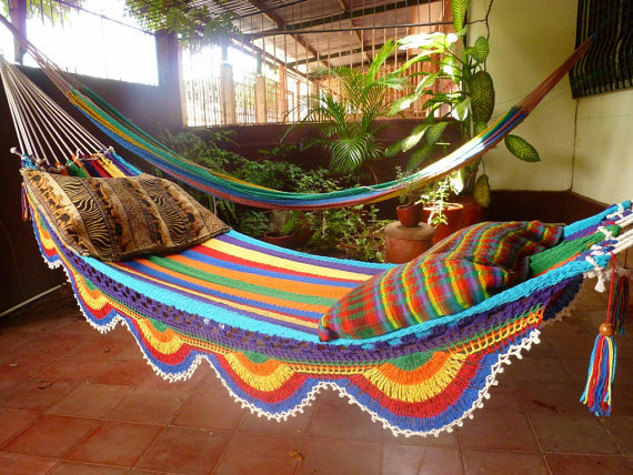 White Multicolor Hammock, Double Hammock Hand-Woven Simple Fringe
