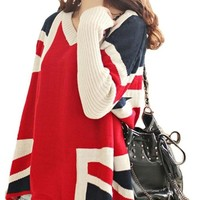 CASUAL UNION JACK LONG SLEEVE NECK LOOSE FIT SWEATER JUMPER RED F 3446