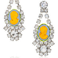 Tom Binns|Samba painted Swarovski crystal cameo earrings|NET-A-PORTER.COM