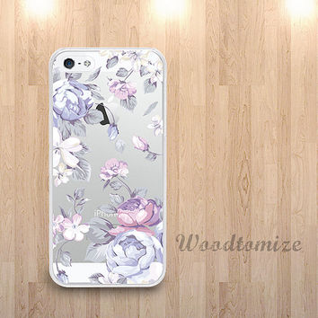 Purple flower transparent phone case for iPhone 6, iPhone 4/4s/5/5s/5c, Samsung s4 s5 Note 3, floral pattern clear case with TPU edge (i33)
