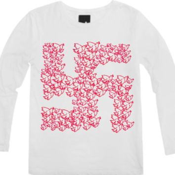 Swastika with Birds of Peace Symbol Printed Long Sleeve Shirt created by dflcprints | Print All Over Me