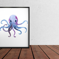 Octopus print Nautical watercolor decor Marine poster