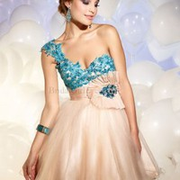 One Shoulder A-line Champagne Applique Tulle Short/Mini Dress - Wedding Dresses Canada Online