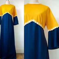 1970's Maxi Dress With Daisy Trim - Trumpet Sleeves - Mustard Yellow And Navy Blue Vintage Dress - Large
