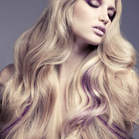 Long Blonde with Purple Streaks