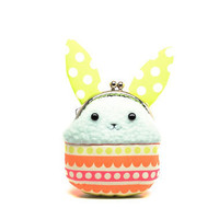 Easter green rabbit plush mini pouch