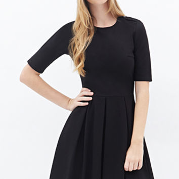FOREVER 21 Buttoned Fit & Flare Dress Black