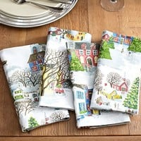 WINTER VILLAGE NAPKINS, SET OF 4, BENEFITING GIVE A LITTLE HOPE CAMPAIGN