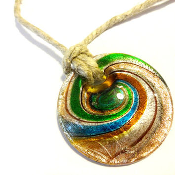 Cool Dichroic Glass Statement Necklace, Natural Jute Pendant Choker Necklace, Colorful Jewelry