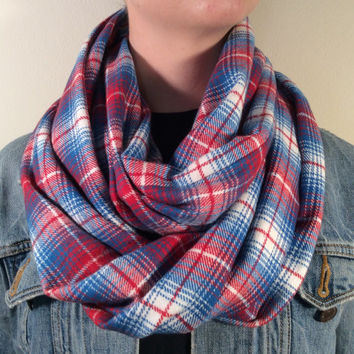 Handmade Infinity Scarf Plaid Flannel - Super Warm Double  Layer Circle Scarf -  Red, Blue and White, Christmas Present, Holiday Gift