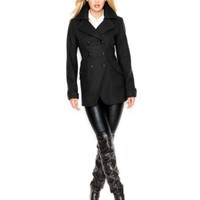 GUESS Wool-Blend Cutaway Peacoat | macys.com