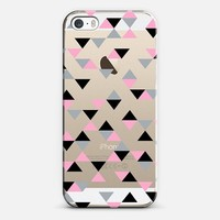 Triangles Black and Pink Transparent iPhone 5s case by Project M | Casetify