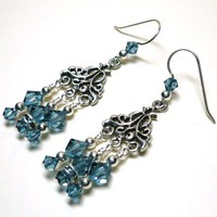 Chandelier Earrings with Swarovski Denim Blue Crystals .925 Sterling