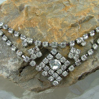 Vintage Silver  and Rhinestone Necklace Costume Jewelry