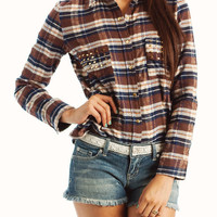 studded-plaid-flannel-shirt COFFEE GREEN RED - GoJane.com