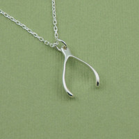 Wishbone Necklace , sterling silver wishbone pendant charm
