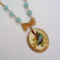 Amazing Sunny Day Ethereal Nature Song Bird Vintage Cameo necklace with Amazonite and Gold